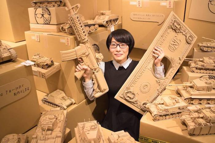 Intricate cardboard sculptures made of old Amazon boxes by Monami Ohno