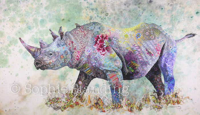 Colorful Textile Embroidered Art Depicting African Wildlife by Sophie Standing