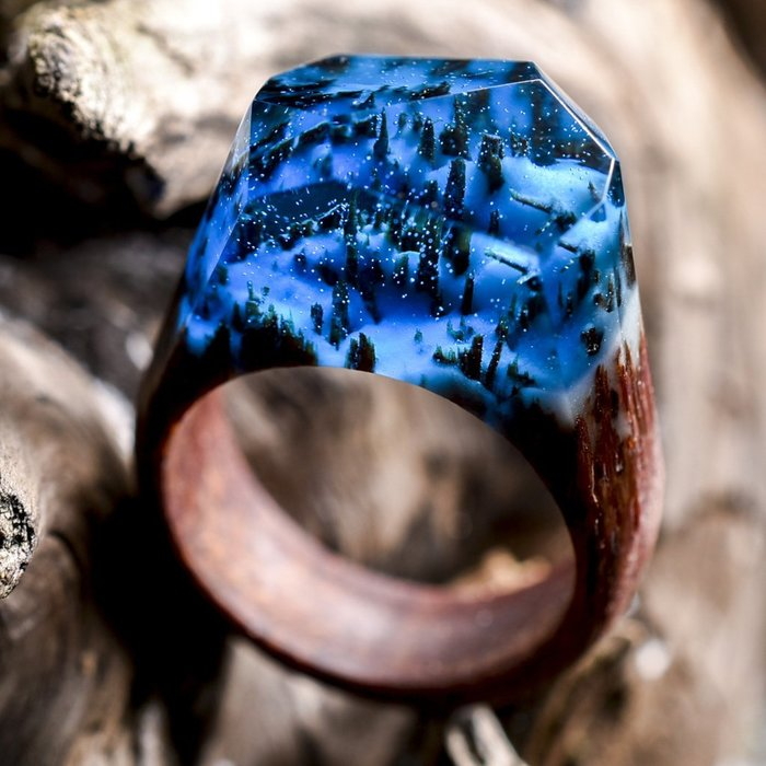 Tiny Worlds Encapsulated Inside Wooden Rings by Secret Wood