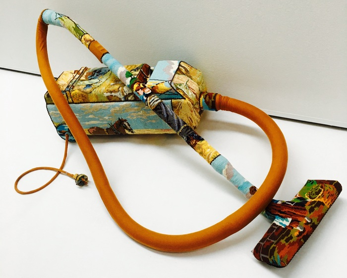 Everyday Objects Coated With Colorful Cross-Stitch Embroideries by Ulla Stina Wikander