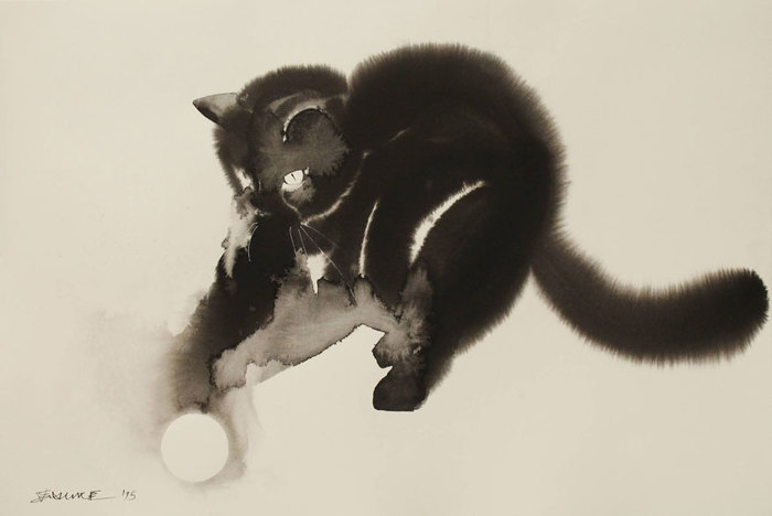 Gloomy Dogs and Cats Watercolor Paintings by Endre Penovac