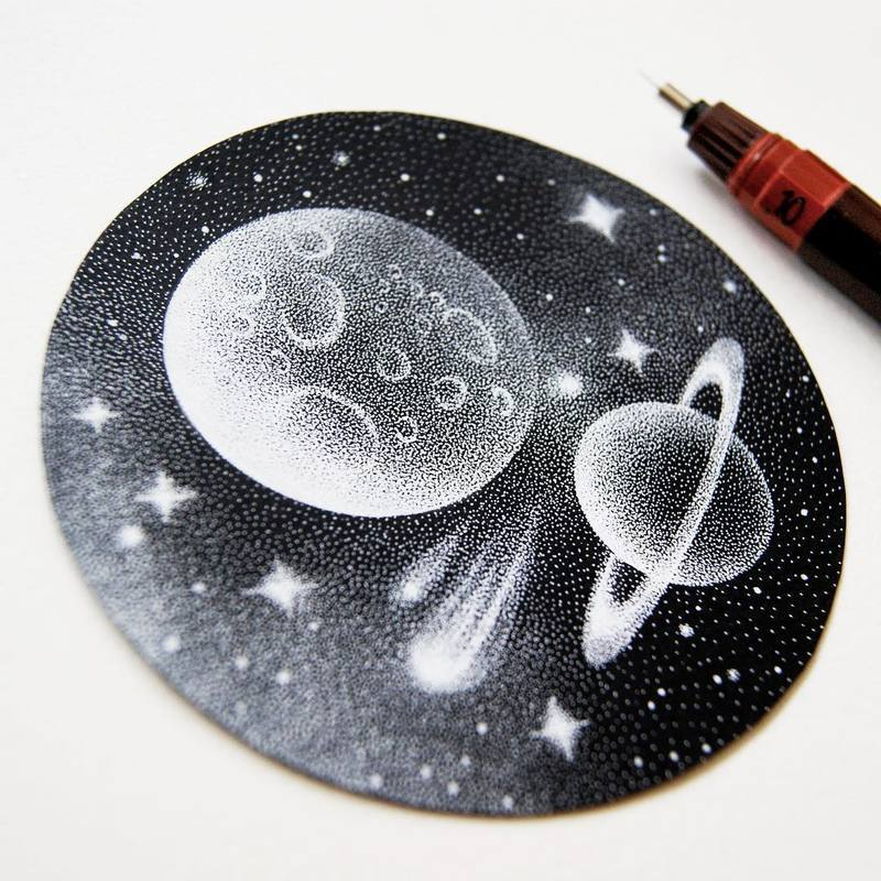 Dotted Galactic Black and White Illustrations by Petra Kostova