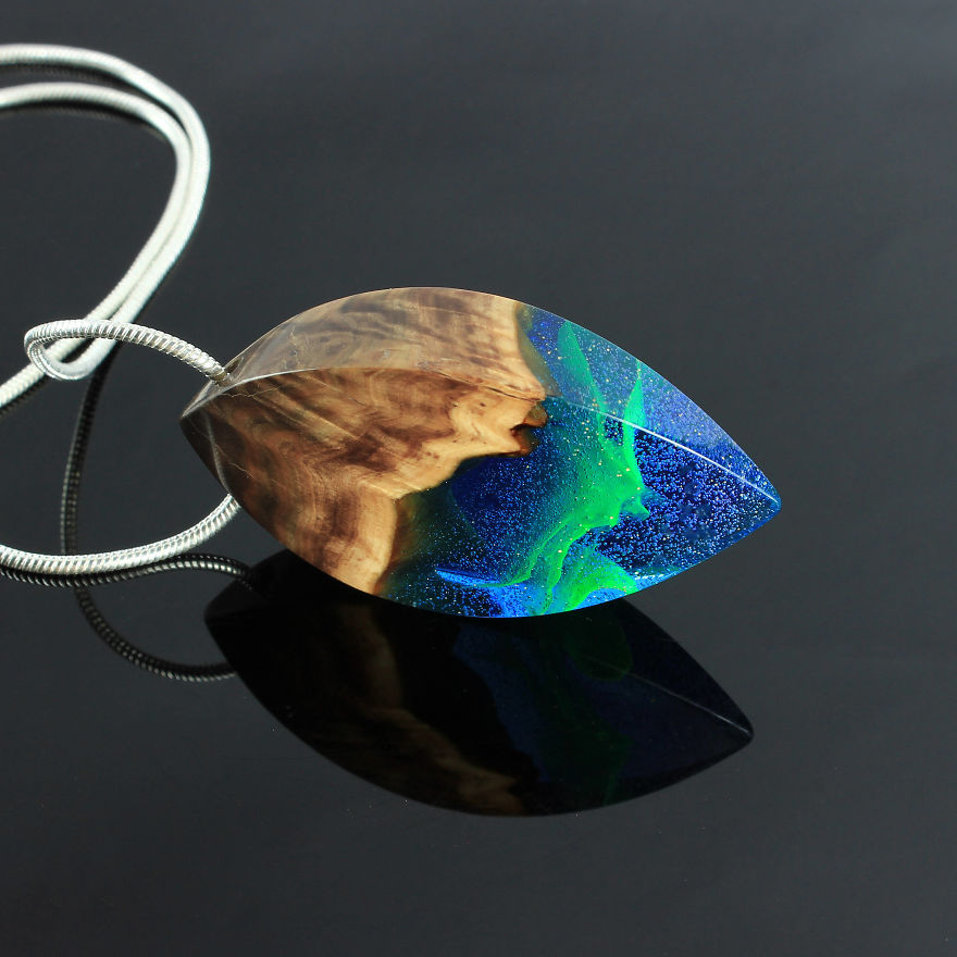 These Stunning Resin and Wood Jewelry Encompass Miniature Worlds
