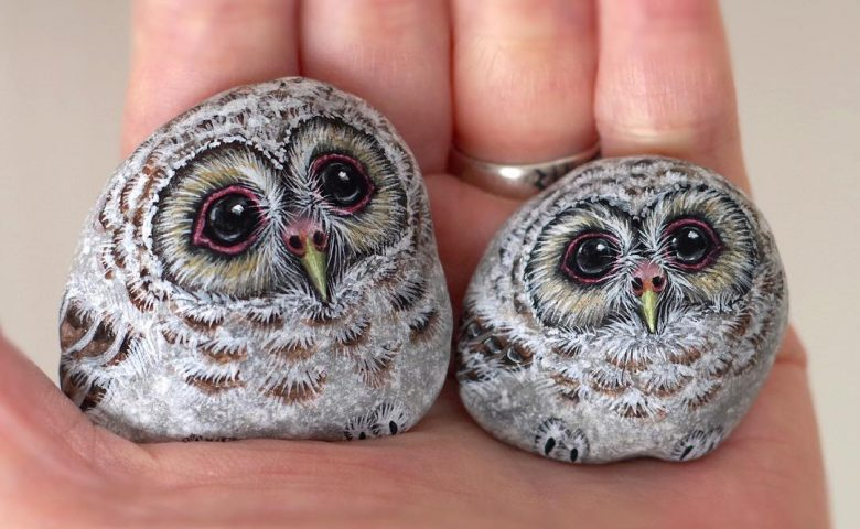Adorable Animal Stone Paintings by Akie Nakata
